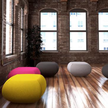 Nugget seating consists of a simple and contemporary design. The seat is in the form of a soft fabric pouf and is easily intertwined into any work space.