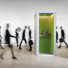 C-SS telephone pod in green with shelf