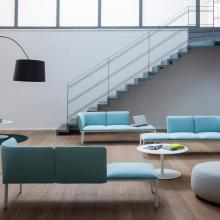 Stylish room with ADD seating system furniture in blue