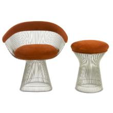Orange seat Platner lounge chair and matching stool