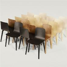 Neat collection of Aava chairs in black, brown and cream