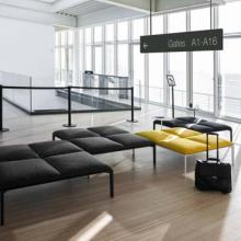 Grey and yellow airport furniture