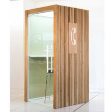 TP4 telephone booth with wood cladding