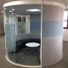 Circular cell pod with curved bench seating