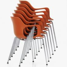 Hal armchair with four legs in tubular steel, designed by Jasper Morrison for Vitra.