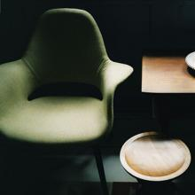 Organic Chair, created by Charles Eames, in green.