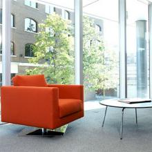 Square based Park Armchair in orange