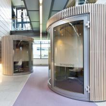 Quietpod booths in atrium