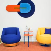 Sancal Magnum blue with bronze base and yellow with blue swivel base
