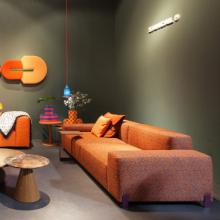 Sancal Mousse sofa orange with table and cushions