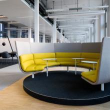 Lande Turning Talks rotating sofa yellow and grey