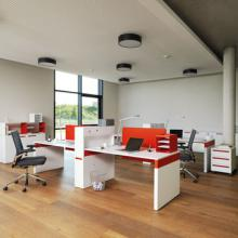 Workspace desks in red and white
