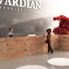 Beautiful natural reception desk from Craftwand